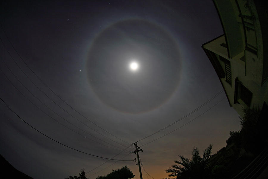 A Halo around the Moon in Athens