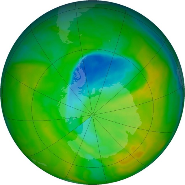Antarctic ozone hole Shrinks to new records on November 15