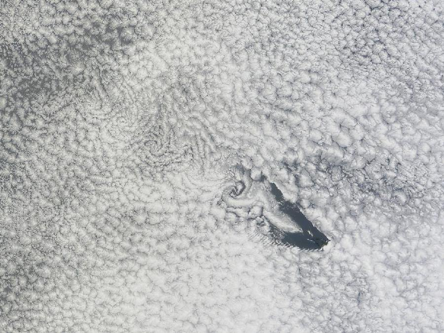 Cloud Vortices off Saint Helena Island