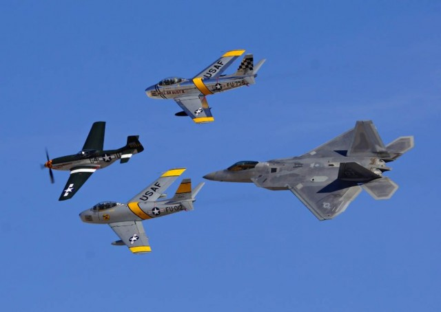 P-51 Mustang, two F-86 and F-22 Raptor