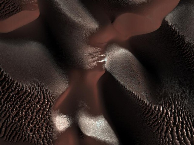 Winter view of Dunes on Mars