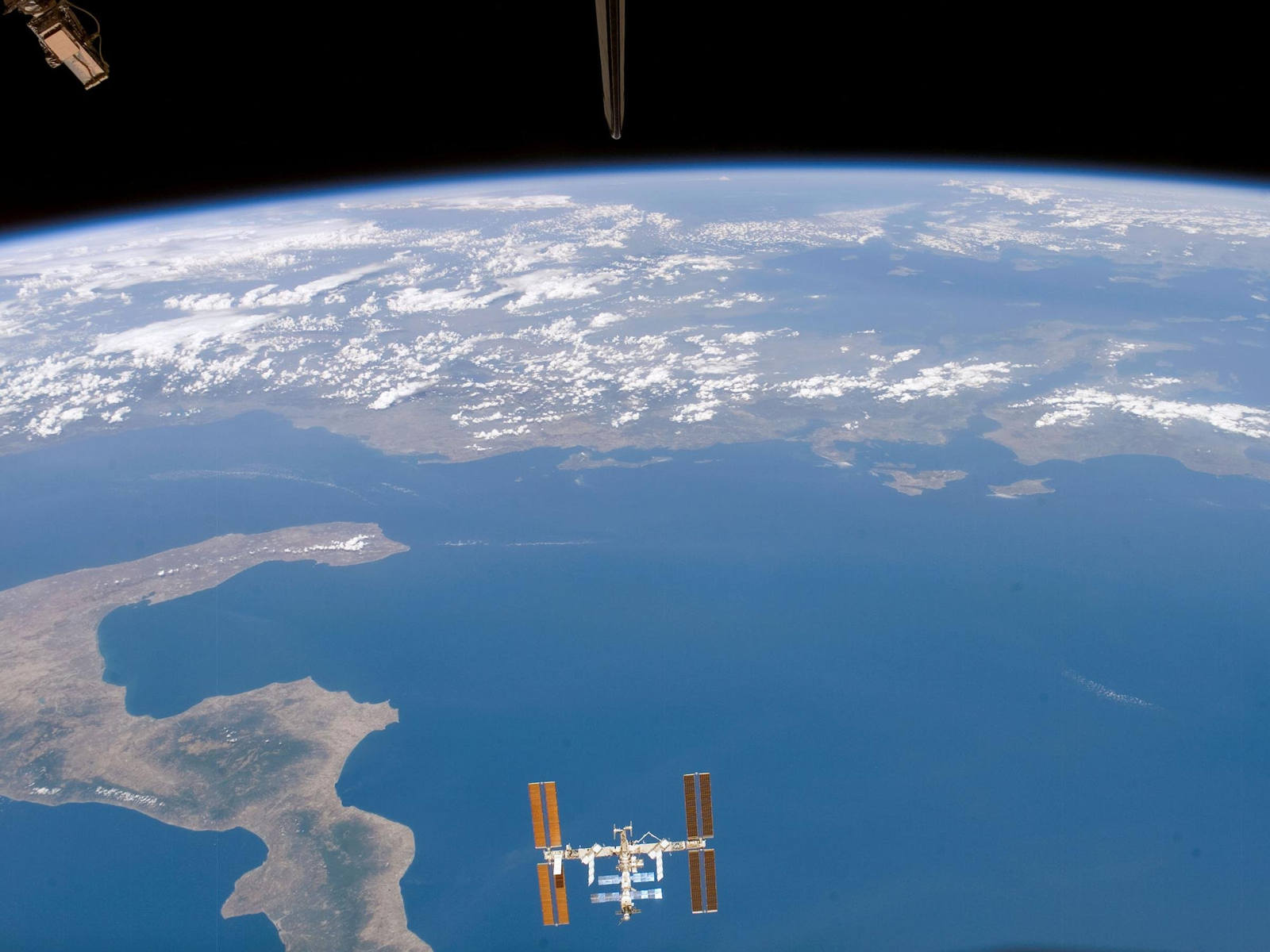 Space Station above Ionian Sea