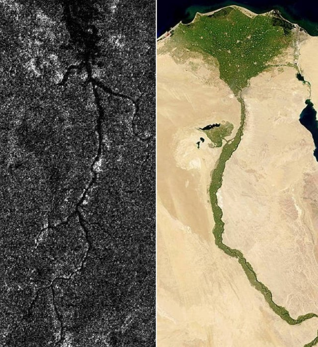 A River in Titan and Nile