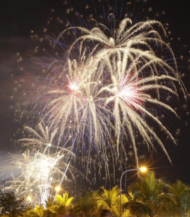 Fireworks on January 1, 2013 at the Manila Bay in Philippines
