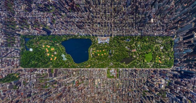 3D high resolution aerial view of Manhattan