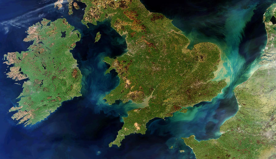 A rare cloud-free view of Great Britain