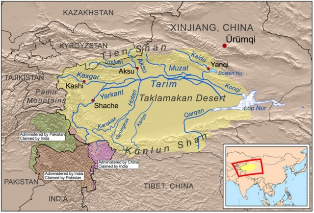 Snow-Covered Desert- Taklamakan Desert -map