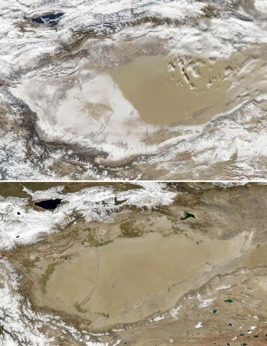 Snow-Covered theTaklimakan Desert