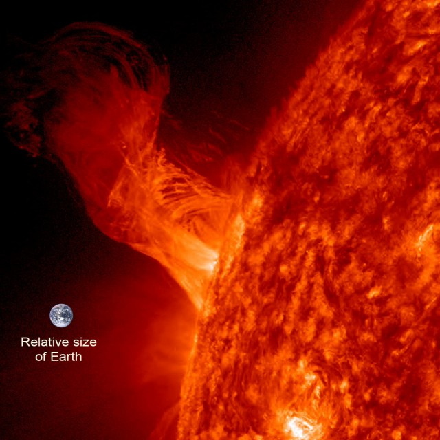Solar Eruption- Size of 20 Earths