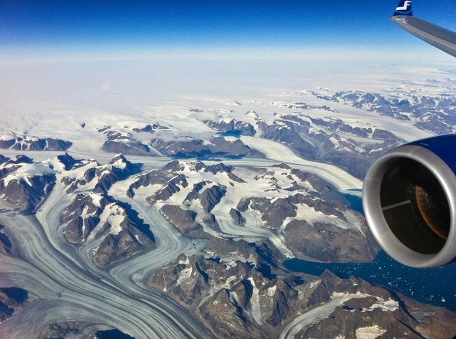 World from the Window of Airplane- Somewhere over Greenland