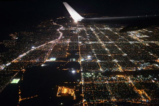 World from the Window of Airplane-Los Angeles