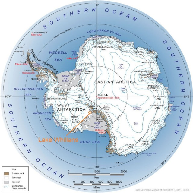 Antarctic Lake- Lake Whillans  map