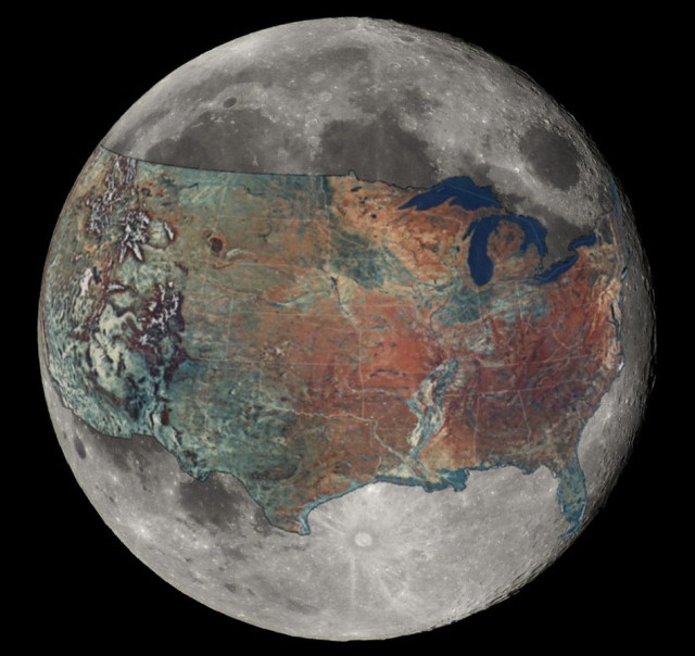 Map of the U.S. overlaid on the Moon