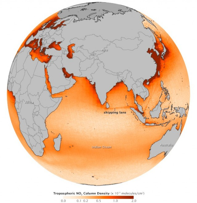 Ozone Monitoring Instrument (OMI) on NASA's Aura satellite, view of Ship Pollution