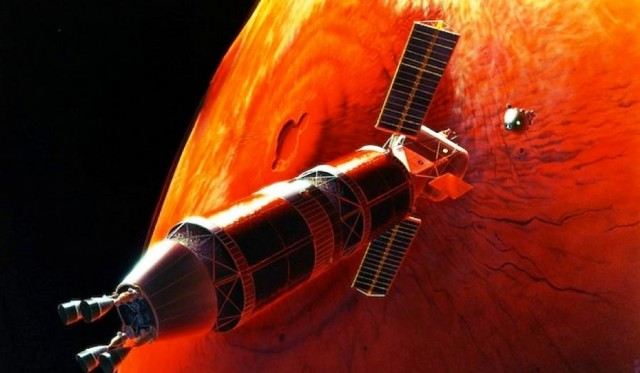 A nuclear-driven spacecraft orbiting around Mars