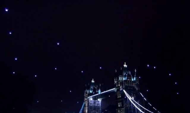 Quadrotors form in London Skyline a Star Trek Constellation