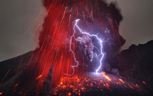 Sakurajima Volcano with Lightning