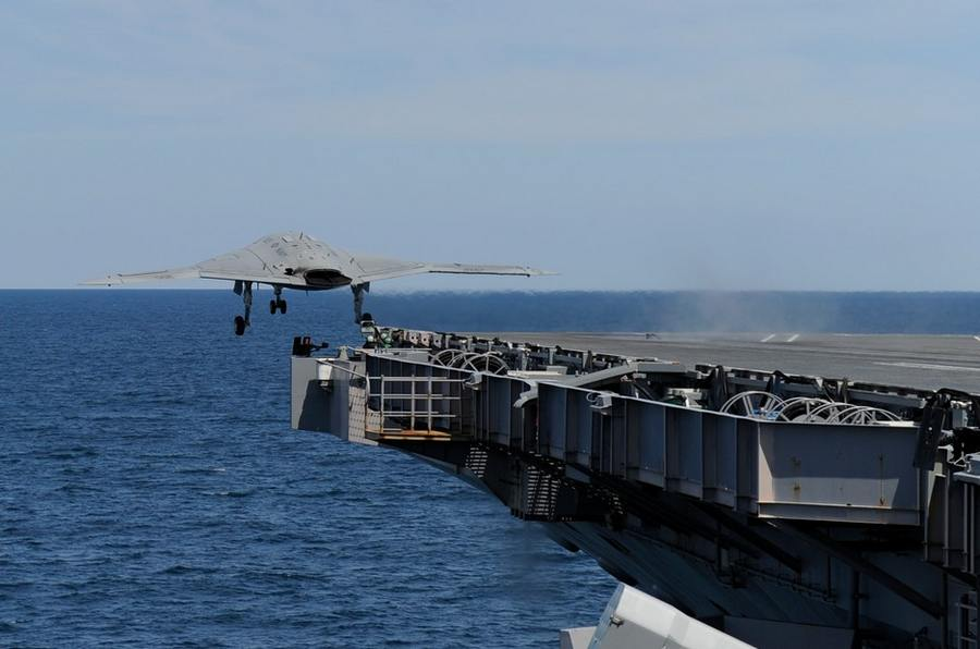 Drone Jet X-47B makes historic carrier launching