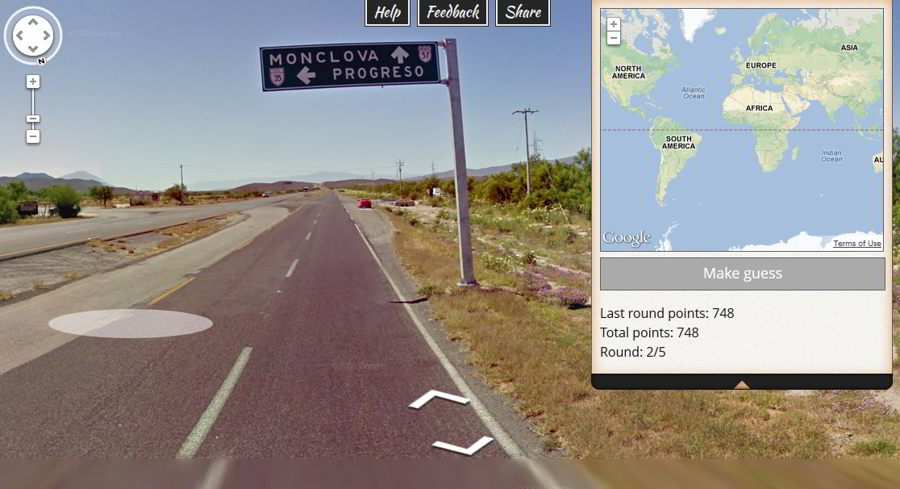 GeoGuessr world map game