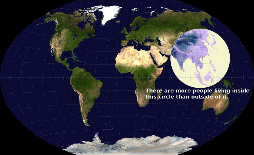Most of the people live in a small circle on Earth