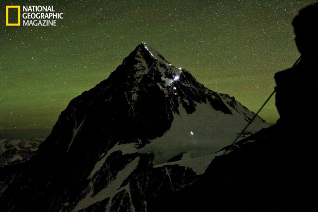 Everest - Headlamps trace a path