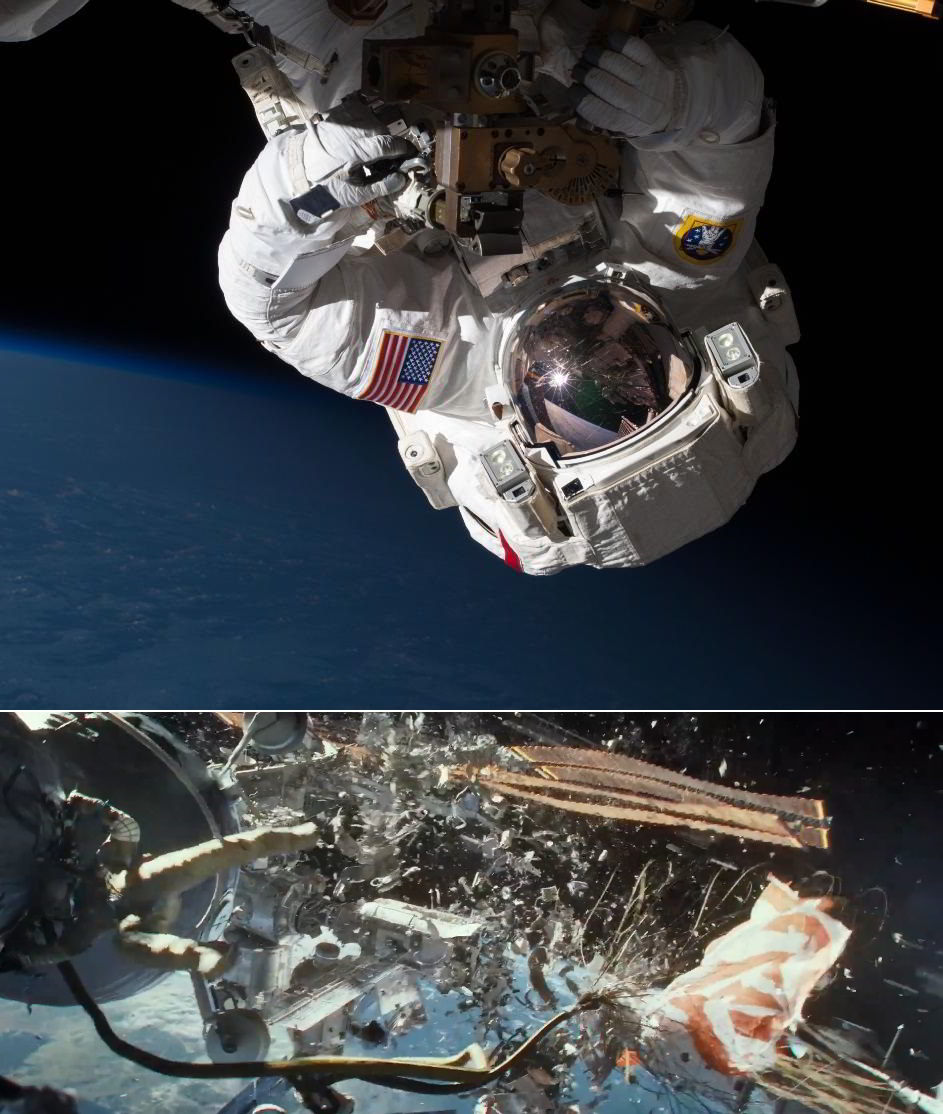 Repairing the Space Station and Gravity movie