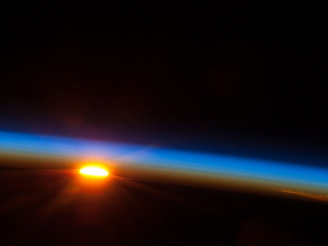 Sunrise over the South Pacific Ocean from orbit