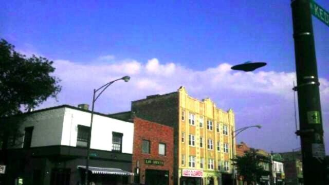 A UFO over Chicago neighborhood