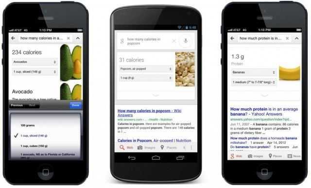Google nutrition info in Search