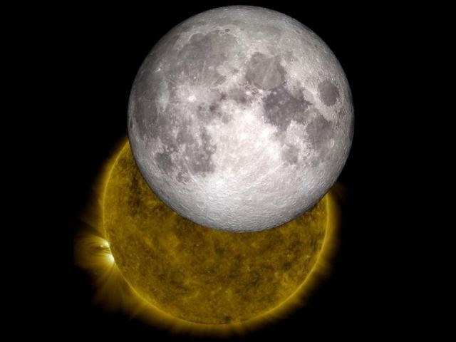 The Moon and Sun from space