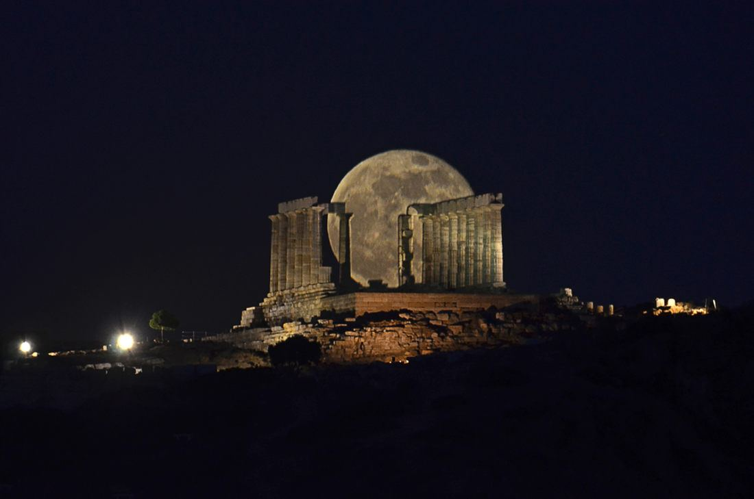 Moonrise over the Temple of Poseidon