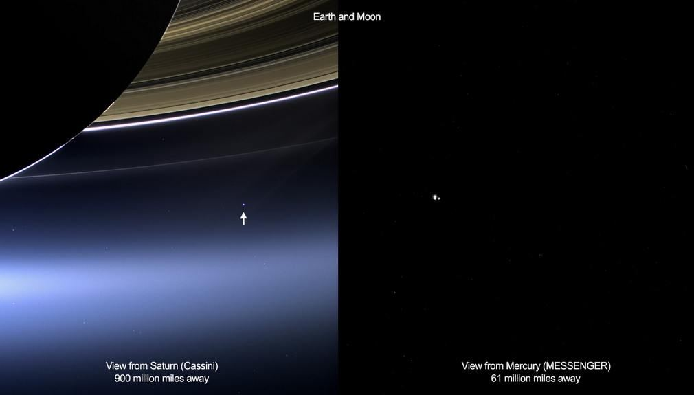 Two Views of Earth from outer Space