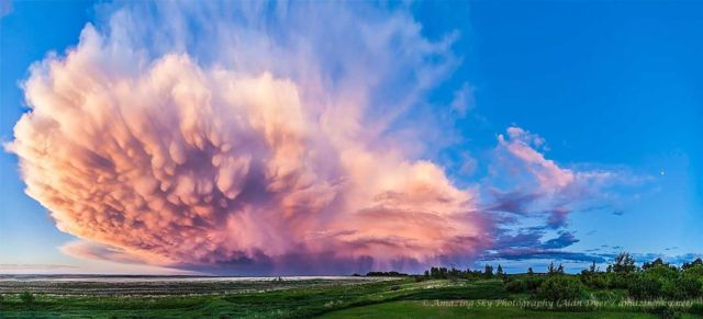 A Retreating Thunderstorm at Sunset