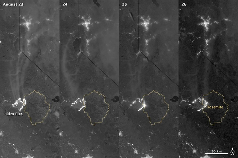 California's Rim Fire at Nighttime 1