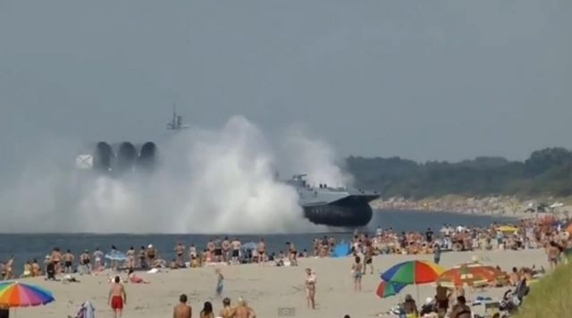 Huge Russian Hovercraft landed on a packed beach 1
