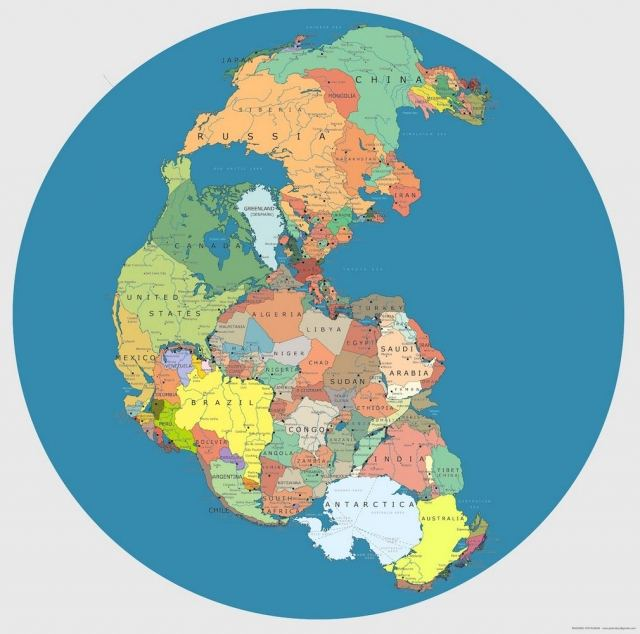 Pangaea in today's Political boundaries 1
