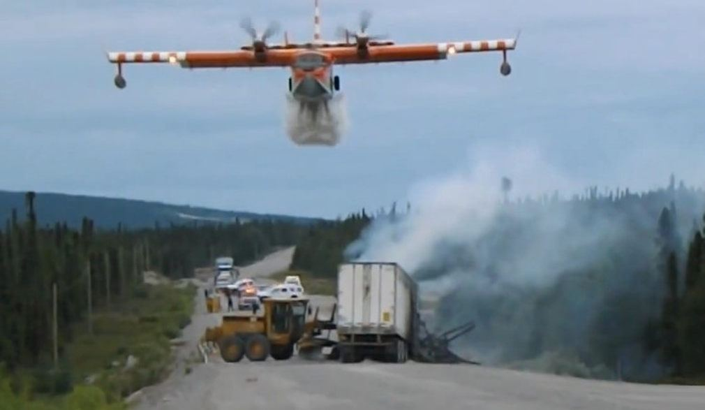 Water Bomber at Highway Accident