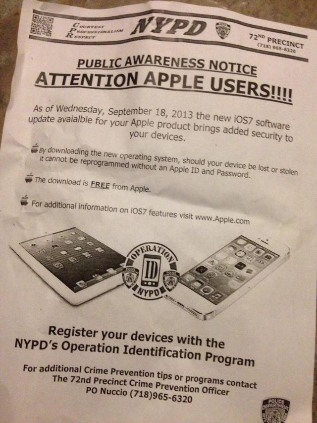 New York Police Department promoting Apple's iOS 7 -1