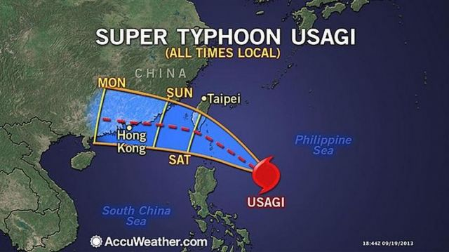 Usagi Super typhoon is smashing East Asia