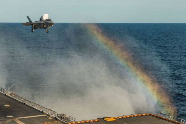 F-35B landing on the USS Wasp