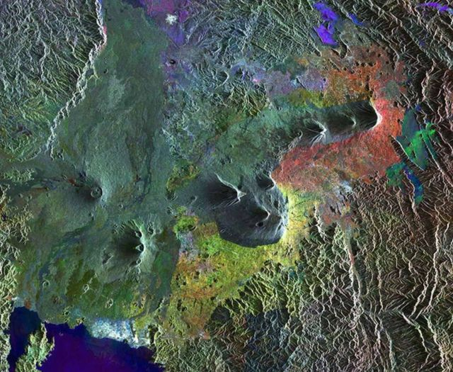Our beautiful Planet from above. Virunga Mountains