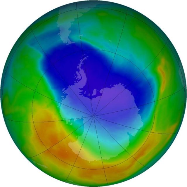 Ozone hole over the South Pole shrinks