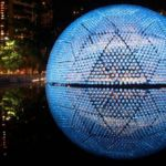 Rising Moon pavilion made from recycled bottles