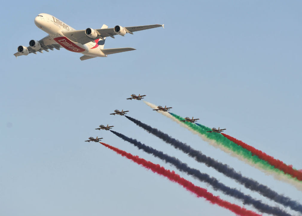 Al Fursan MB-339s and Emirates Airbus A380