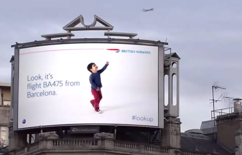 Creative billboard identifies British Airways