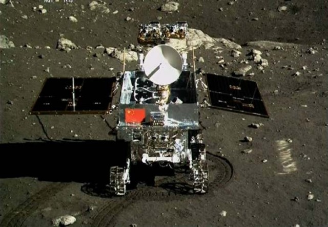China's Flag shining on the Moon 1