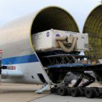 Orion Heat Shield transported by Super Guppy plane