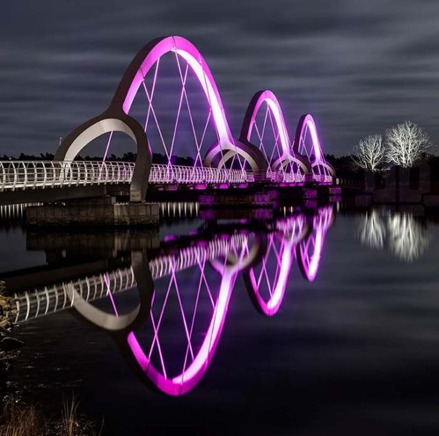 Sweden's Solvesborg bridge color changing LED lights 1