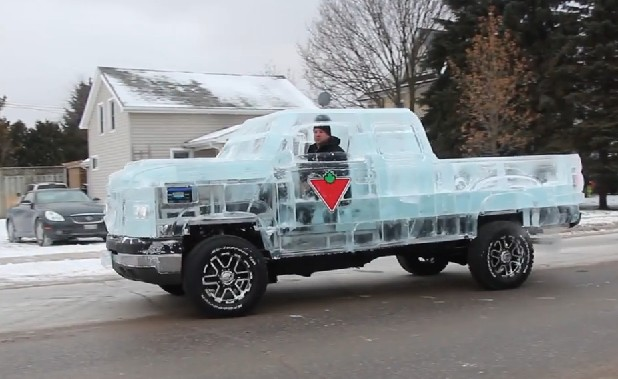 A Pickup truck made of Ice