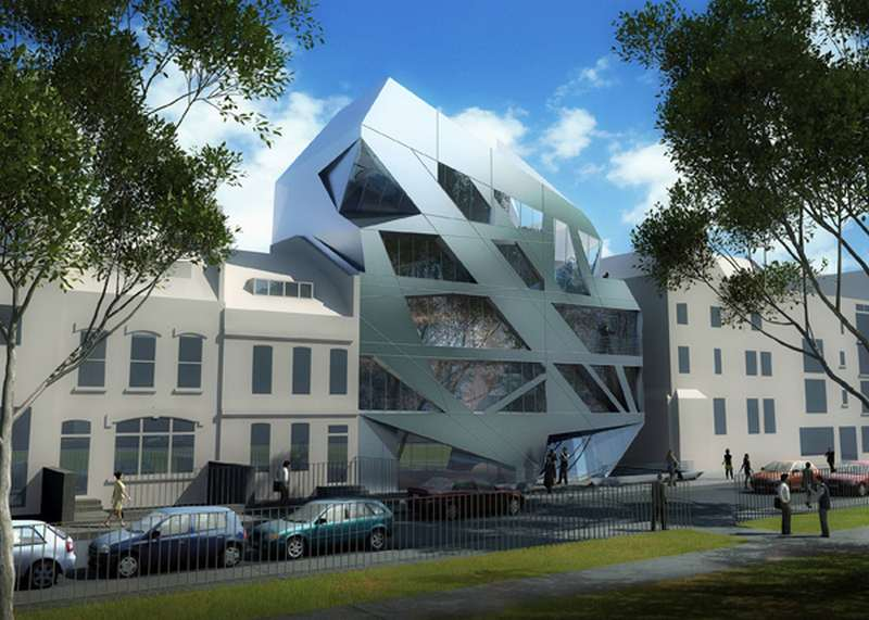 Giant prism on london s hoxton square by zaha hadid for Tech house london